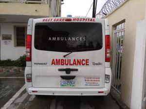care hospital ambulance back view